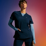 woman in scrub top and underscrub