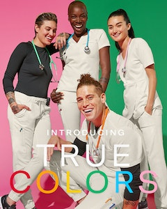 3 women and 1 man wearing stone scrub tops and pants