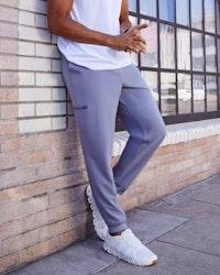 man in grey jogger pant