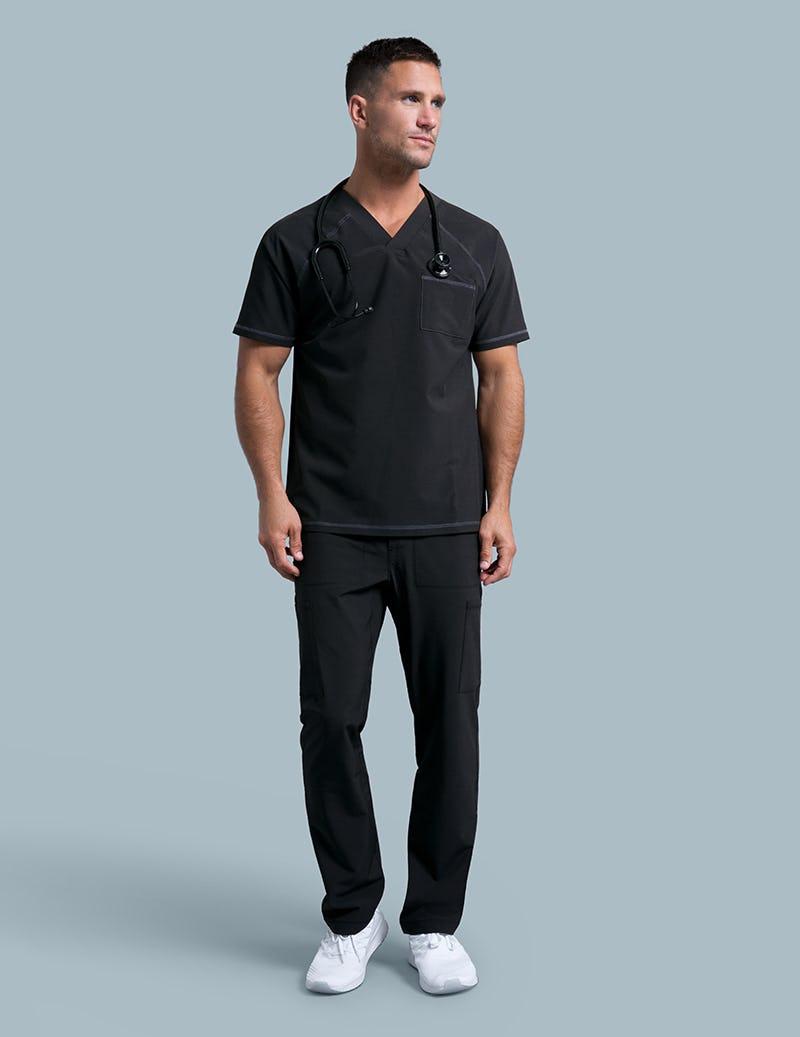 2a5cb0097d4 V-Neck Raglan Top in Black - Medical Scrubs by Jaanuu