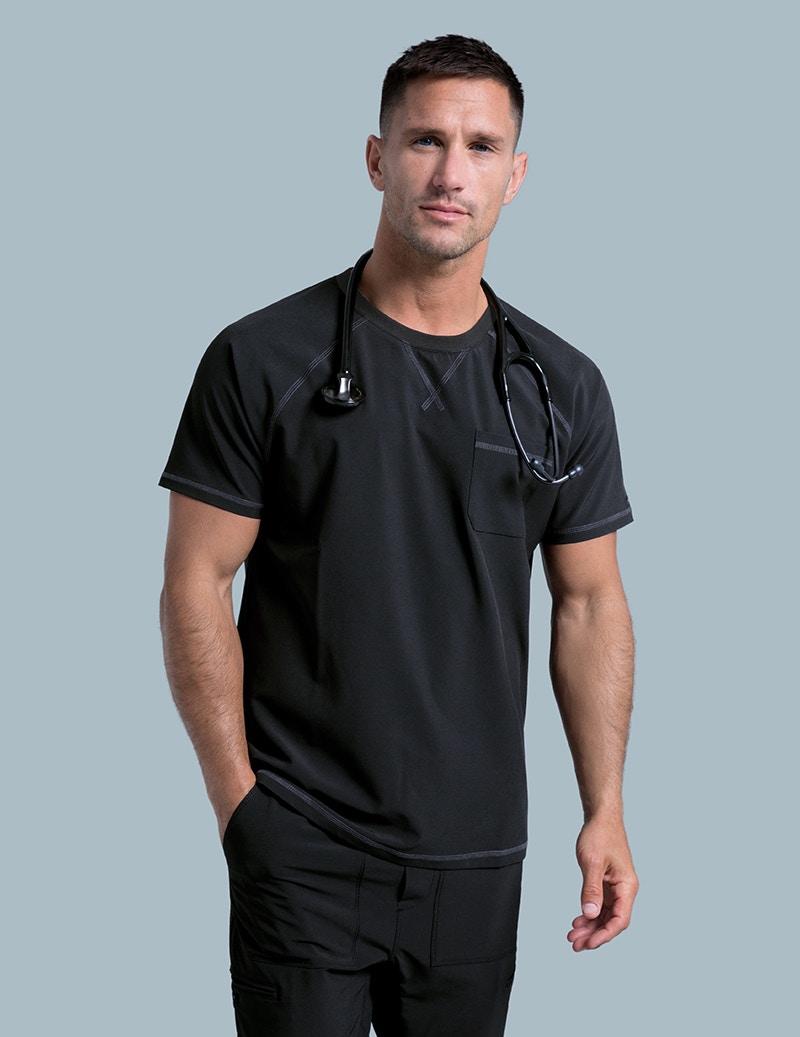b480c88d325 Crew Neck Raglan Top in Black - Medical Scrubs by Jaanuu