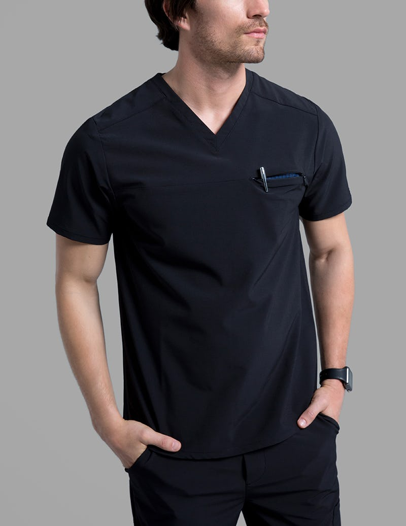 908439631bd Refined V-Neck Top in Black - Medical Scrubs by Jaanuu