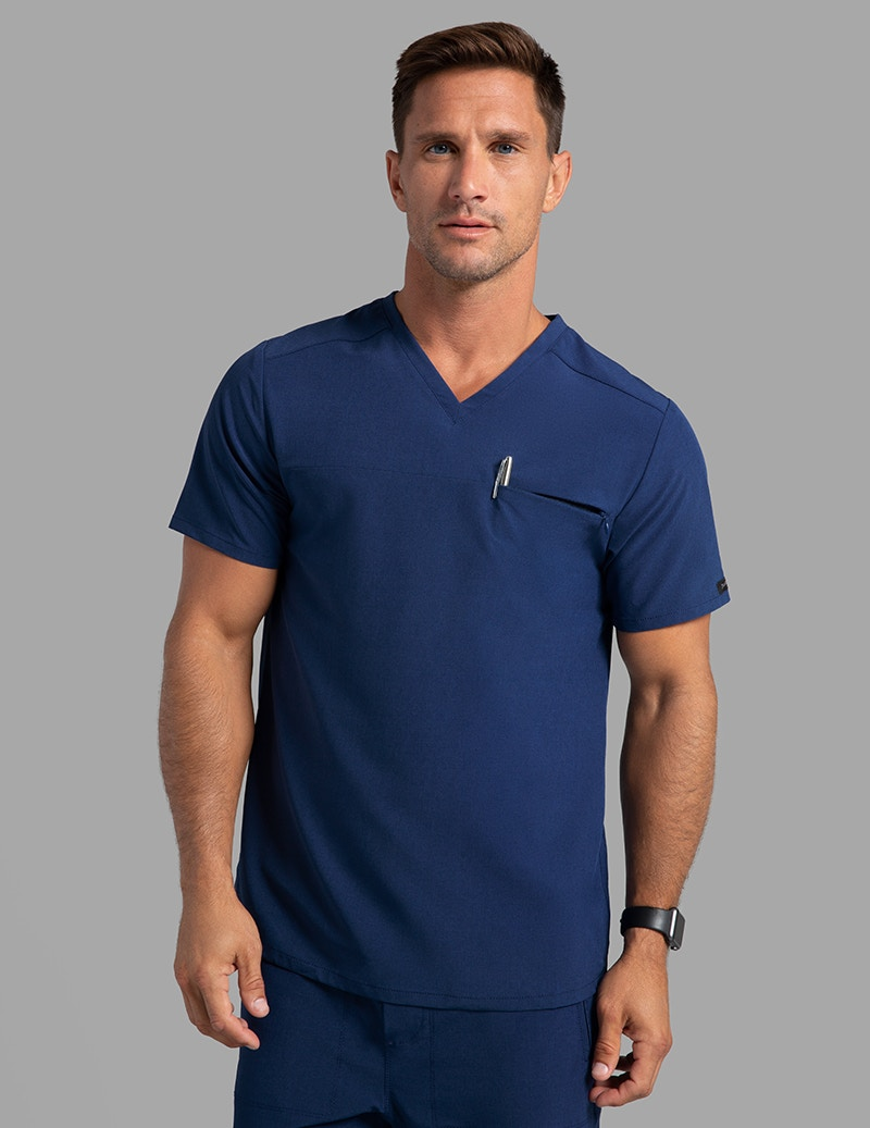 638e5d176a1 Refined V-Neck Top in Estate Navy Blue - Medical Scrubs by Jaanuu