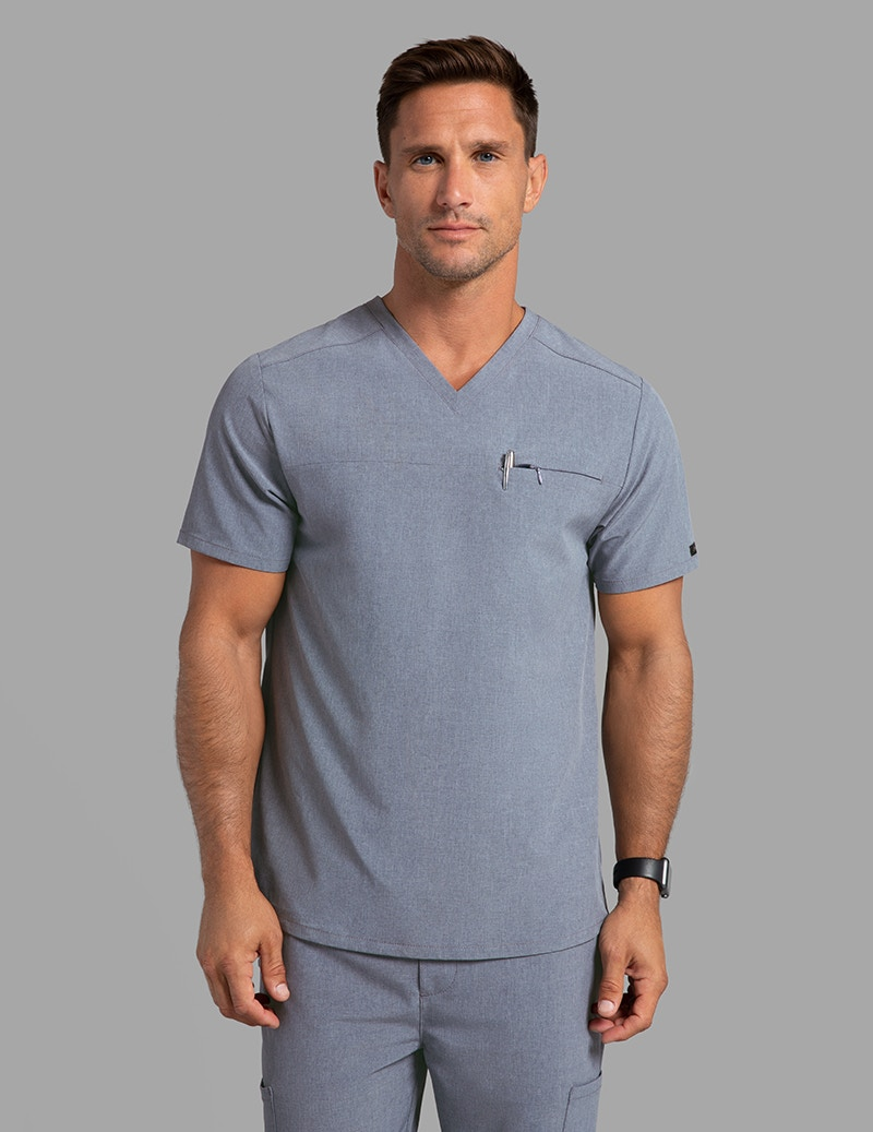 5719c4007c3 Refined V-Neck Top in Graphite - Medical Scrubs by Jaanuu