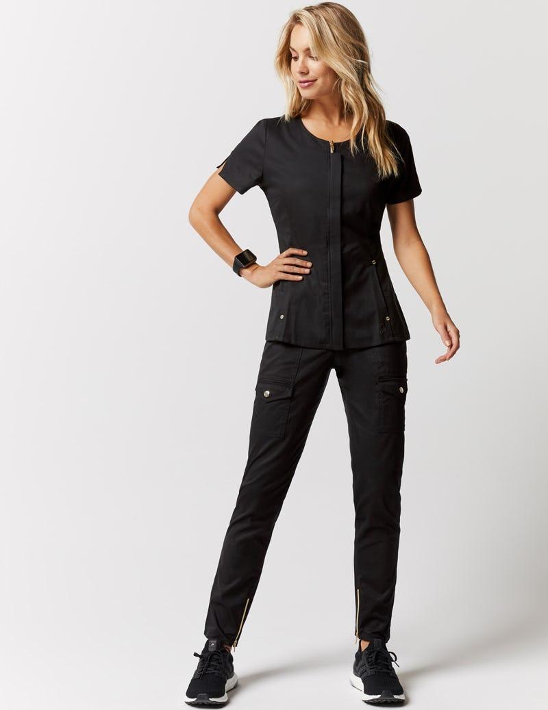 aa2b1eae50b Skinny Cargo Pant in Black - Medical Scrubs by Jaanuu