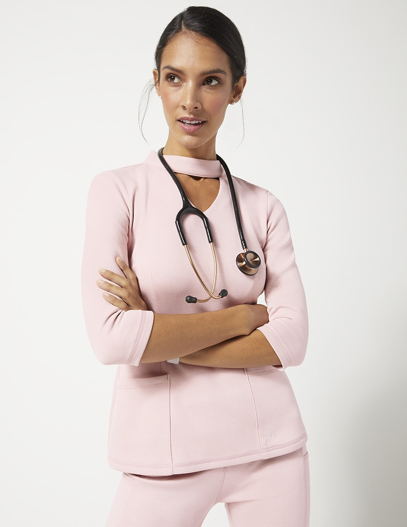 5736a942288 Mock Neck Top in Blushing Pink - Medical Scrubs by Jaanuu