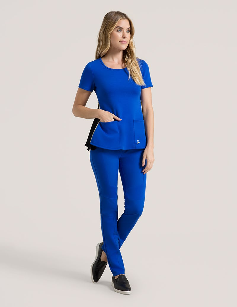 4e170cc9742 Chiffon Zipper Top in Royal Blue - Medical Scrubs by Jaanuu