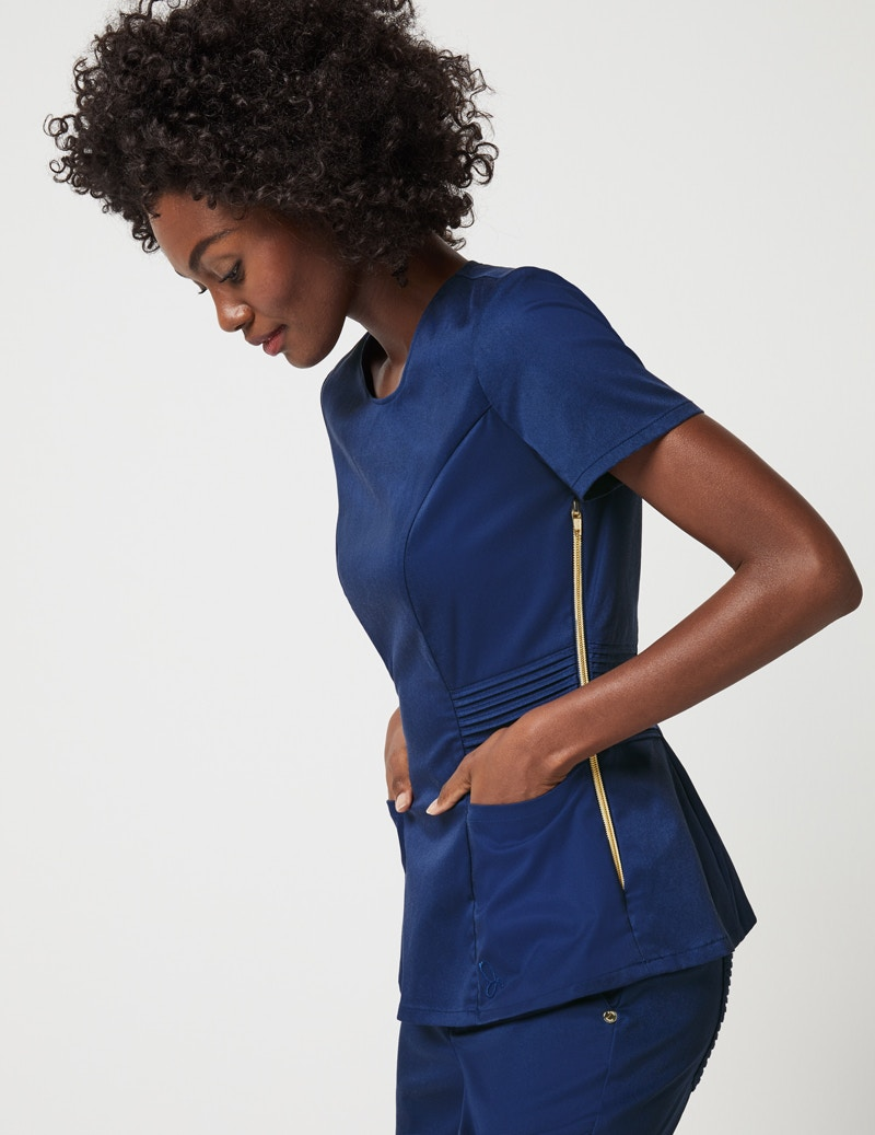 fda00429b Pintuck Top in Estate Navy Blue - Medical Scrubs by Jaanuu
