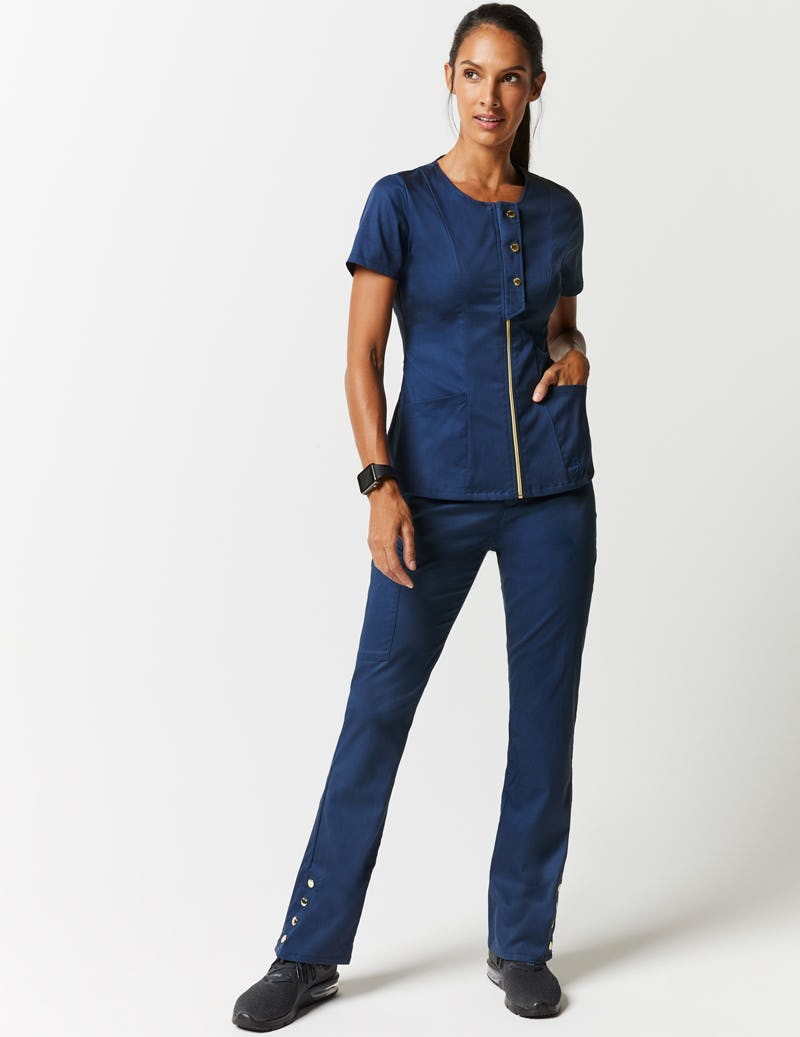 cd35fa0e8e5 Snap Front Top in Estate Navy Blue - Medical Scrubs by Jaanuu