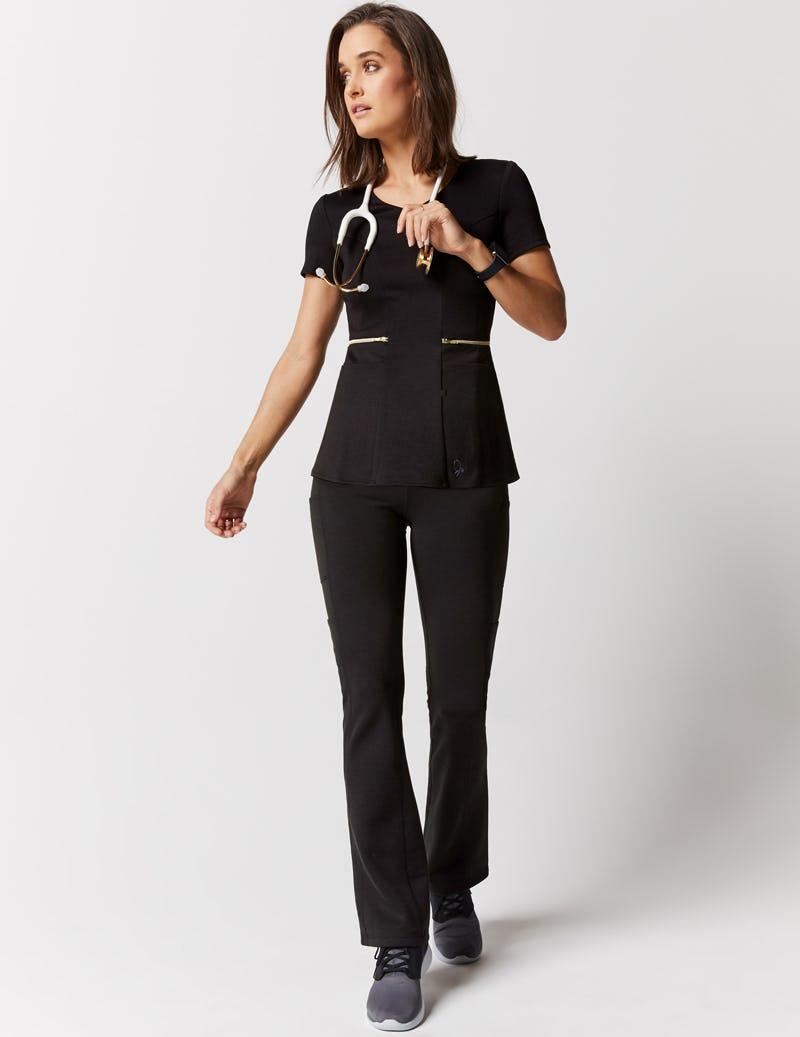 3994b2dbfed Zipper Waist Top in Black - Medical Scrubs by Jaanuu