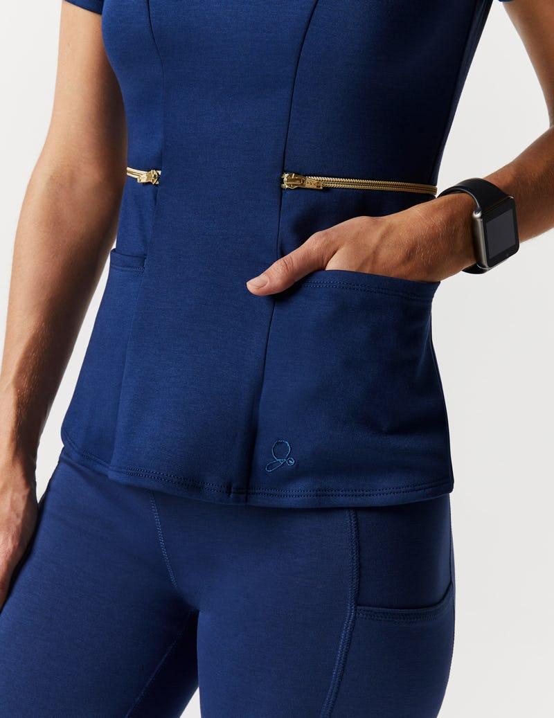 dfbbbd730f0 Zipper Waist Top in Estate Navy Blue - Medical Scrubs by Jaanuu
