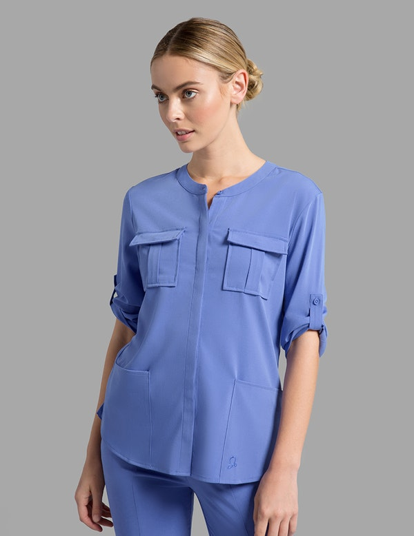 Cuffed Sleeve Button Down Top In Ceil Blue Medical
