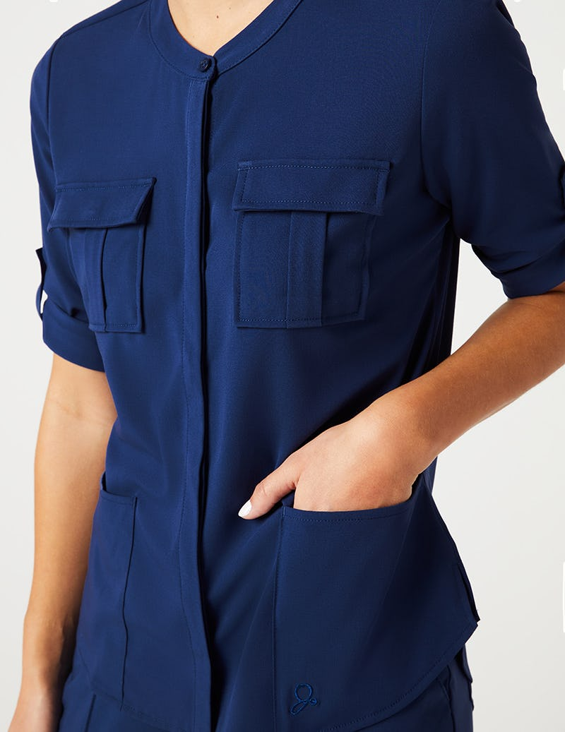 e58b0a6253e Cuffed Sleeve Button Down Top in Estate Navy Blue - Medical Scrubs ...