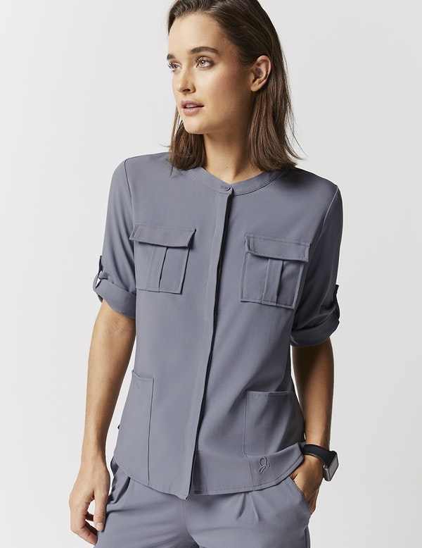 Cuffed Sleeve Button Down Top In Graphite Medical Scrubs