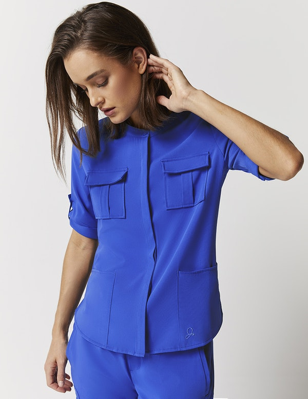 Cuffed Sleeve Button Down Top In Royal Blue Medical