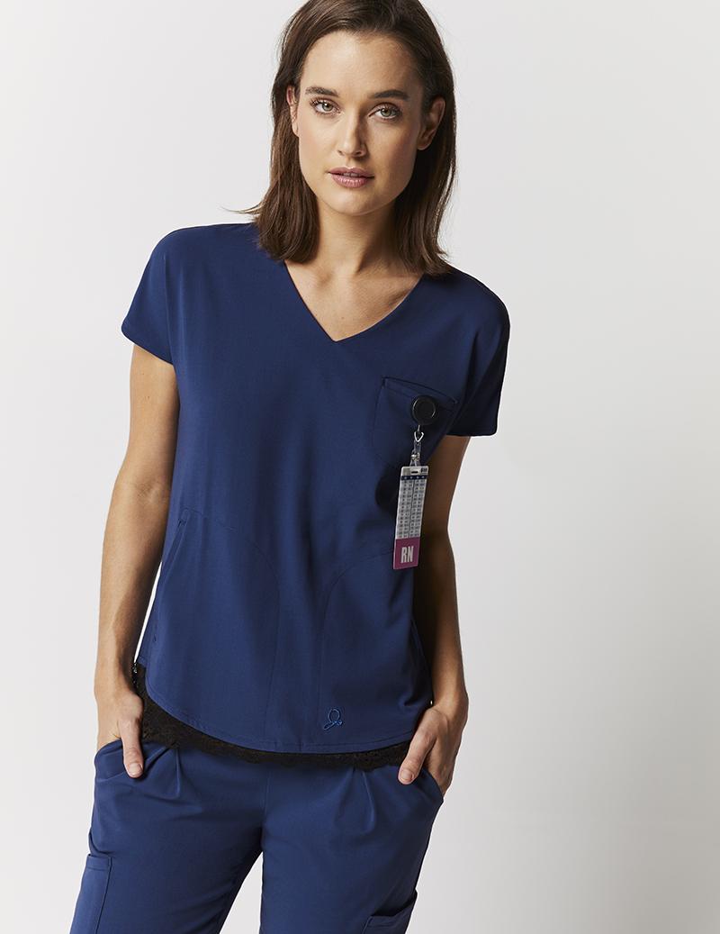 db0efd02d8c065 Lace hem dolman top in estate navy blue medical scrubs jaanuu jpg 800x1037  Lace scrubs