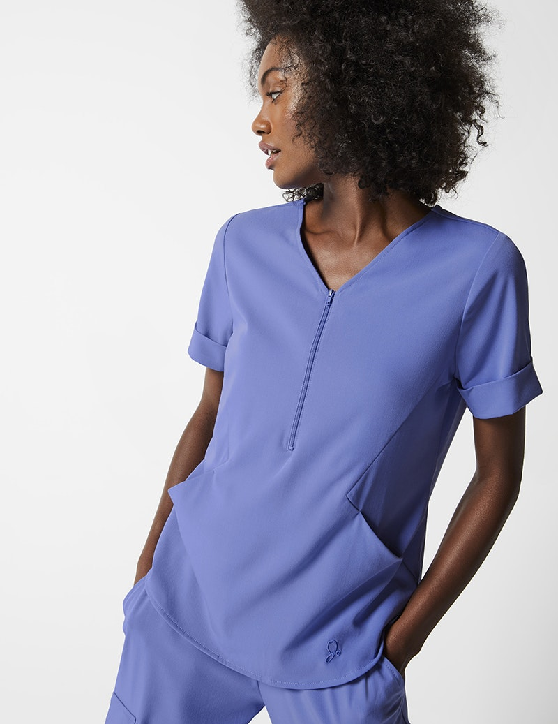 Relaxed Cuff Sleeve Top In Ceil Blue Medical Scrubs By