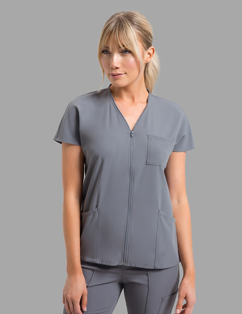 ed2daf715d4c89 Zip Front Dolman Top in Graphite - Medical Scrubs by Jaanuu