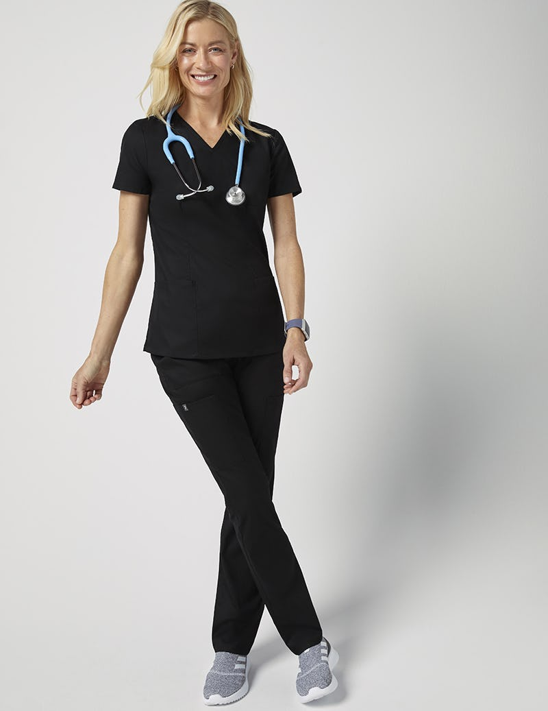 0f93d78523a Cinched V-Neck Top in Black - Medical Scrubs by Jaanuu