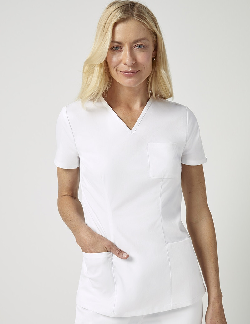 fc2d7d01328 Cinched V-Neck Top in White - Medical Scrubs by Jaanuu