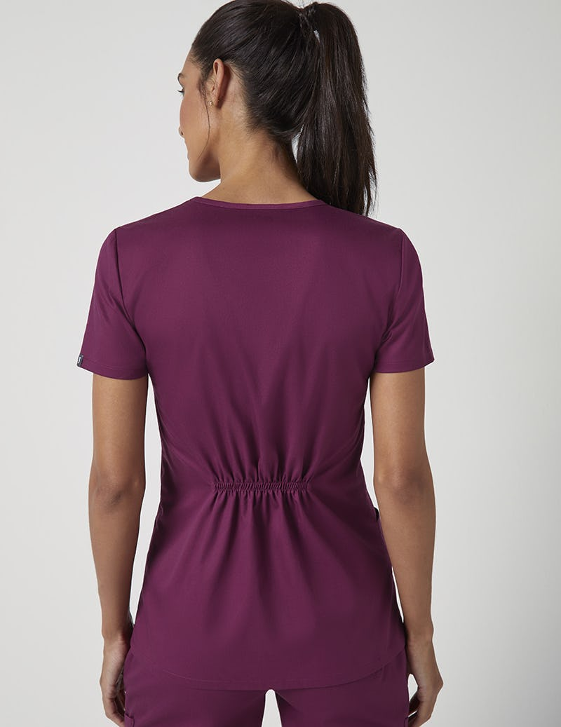 08b0826f5e8 Cinched V-Neck Top in Wine - Medical Scrubs by Jaanuu