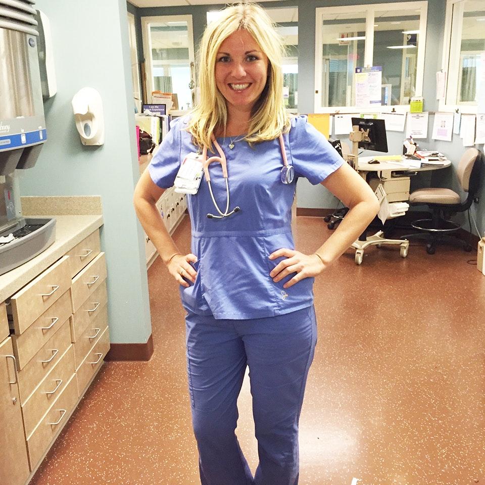 The Peplum Top In Ceil Blue Medical Scrubs By Jaanuu