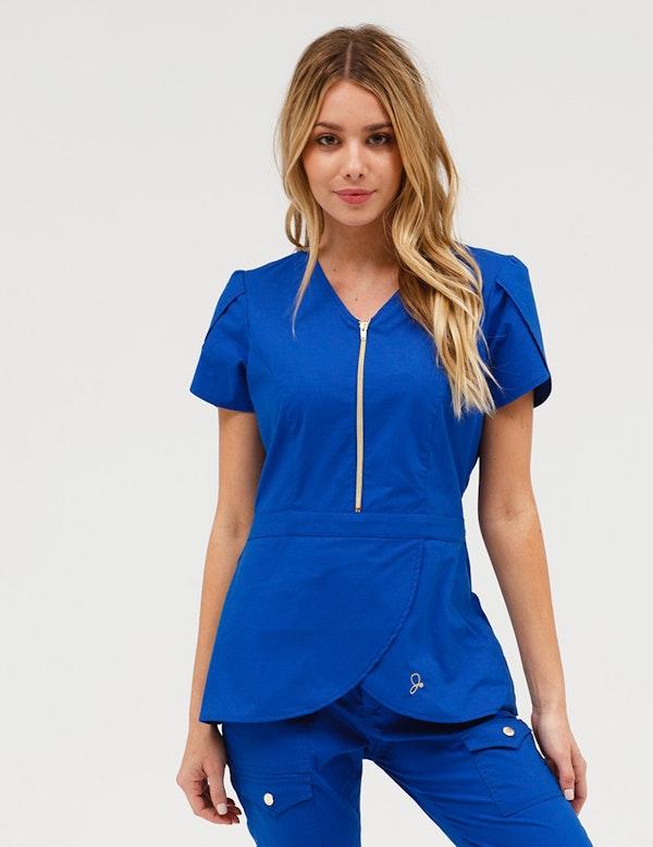 Tulip Top in Royal Blue - Medical Scrubs by Jaanuu