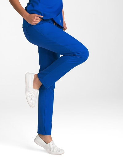 The Contrast Ponte Pant In Royal Blue Medical Scrubs By