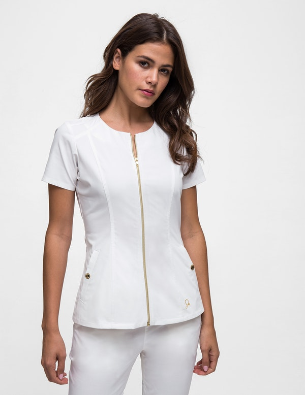 The Biker Top In White Medical Scrubs By Jaanuu