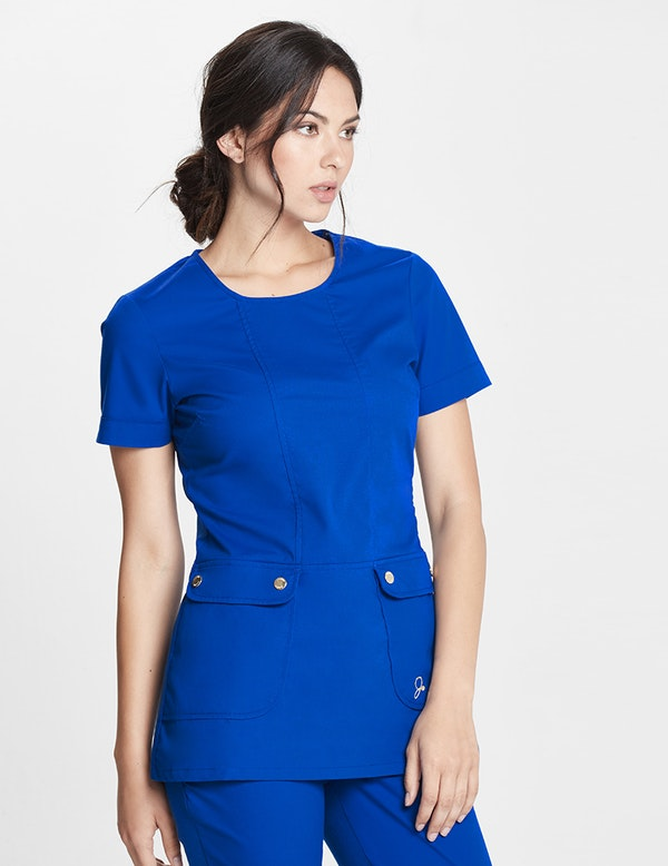 The Snap Pocket Tunic In Royal Blue Medical Scrubs By Jaanuu